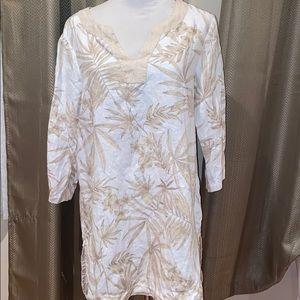 Foxcroft Linen Shirt 12 Beige White Tunic